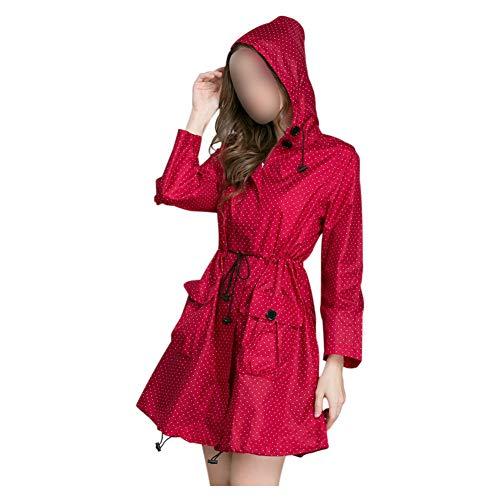 Haodasi Regenmantel - Damen Leichte Regenjacke Regenbekleidung Langer Reißverschluss Gewachste Taille Wasserdicht mit Kapuze Winddicht