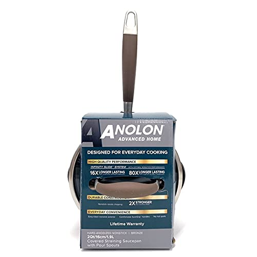 Anolon Advanced Home Hard-Anodized Nonstick Straining Sauce Pan/Saucepan, 2-Quart, Bronze