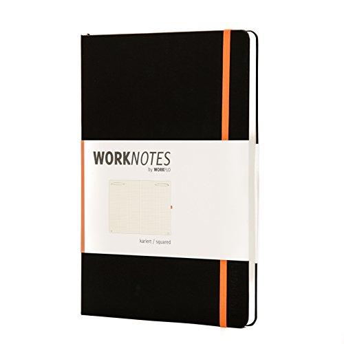 Worknotes Notizbuch a4 kariert - Das Notizbuch für Kreative und Macher von Workflo, 192 perforierte Seiten, 100g/qm, Hardcover, schwarz