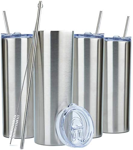 SKINNY TUMBLERS 4 pack 20oz Stainless Steel Double Wall Insulated Tumblers with Lids and Straws product image
