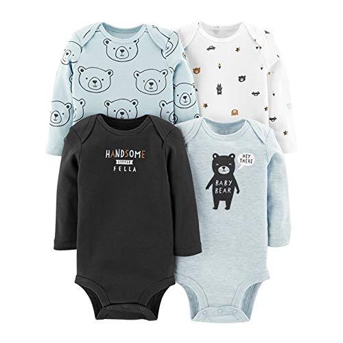 Youpin Conjunto de 4 piezas para bebé 2020 Primavera Otoño Calidad Ropa de bebé niña de algodón suave manga larga Bebe ropa de niños (color: 03, tamaño de niño: 12M)