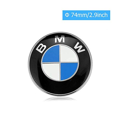 car sales 74mm BMW Emblem, 2 Pin Replacement Badge Hood or Trunk Logo Fit for BMW 3-Series, 5-Series, 6-Series, 7-Series, X1, X3, X5 (74mm)