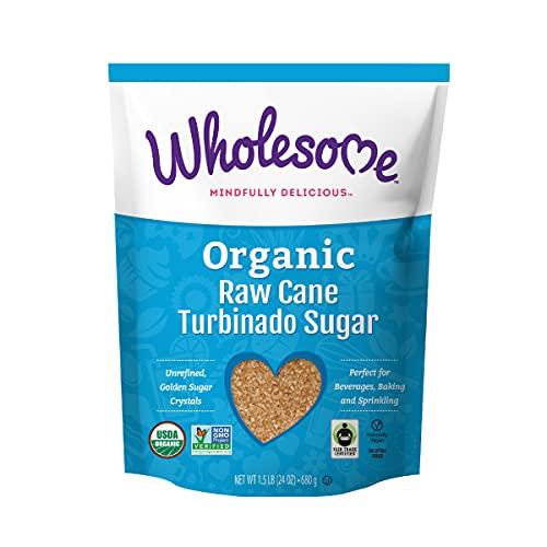 Wholesome Organic Raw Cane Turbinado Sugar, Fair Trade, Non GMO & Gluten Free, 1.5 Pound (Pack of 12)