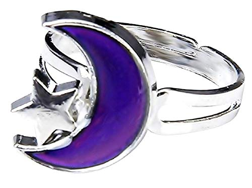 Anello Magico Umore Mood Ring Con Simbolo Luna E Stella Cambia Colore A Seconda Dell'Umore Idea Regalo Ragazze Ragazzi Regolabile