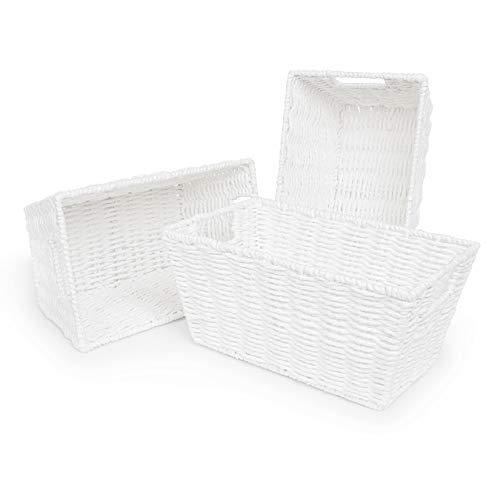 woodluv Set of 3 Paper Rope Storage Shelf Bins Gift Hamper Makeup Closet Bedroom, Bathroom Basket, White - L30.5 x W18.5 x 14.5(H)