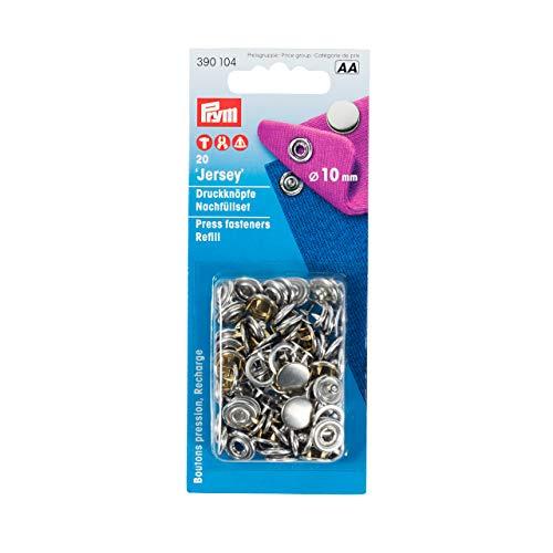 Prym 390 104 Druckknöpfe Nähfrei-Nachfüllpack MS für 390120 gl. Kappe silberfarbig 10 mm (20 Stück pro Packung)
