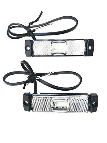 2x LED Umrissleuchte Weiß 130x14,5x32 Begrenzungsleuchte 12V 24V LKW Anhänger