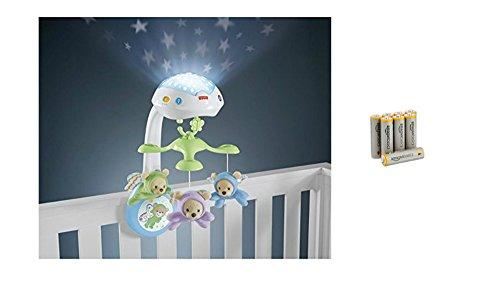 Fisher-Price CDN41 - 3-in-1 Traumbärchen Baby Mobile mit Halterung,Nachtlicht mit beruhigender Musik, White Noise und Sternenlicht Projektor, ab Geburt & AmazonBasics Performance Batterien Alkali, AA