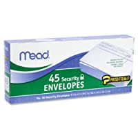 (6 Pack) - Mead Press-it Seal-it No.10 Security Envelopes, 10cm x 24cm, White, 45 Count, Pack of 6 (270 Count In Total)(75026)