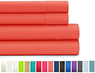 American Home Collection - Deluxe 4 Piece Bed Sheet Sets - Highest Quality of Brushed Microfiber - Wrinkle Resistant Silky Soft Touch (queen, Peach Echo)