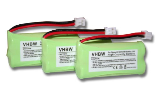 vhbw 3X NiMH Akku 700mAh (2.4V) für schnurlos Festnetz Telefon Siemens Gigaset A12, A120, A14, A140 wie V30145-K1310-X359, V30145-K1310-X383.