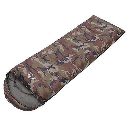 DLSM Sac de couchage d'extérieur pour adulte Camping Pause déjeuner chaud quatre saisons Camouflage Sac de couchage léger Sac à dos Voyage Randonnée Bureau Armée Vert