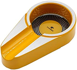 JCG Cigar Ashtray Yellow - Portable Pocket Size for Out Door Indoor Cigar Ashtray Holder - Made by Aluminum Alloy