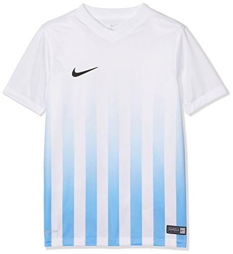 Nike - Maglia da Bambino Striped Division II SS Jersey Youth, Bambini, Maglietta, 725976-100, Bianco/Blu/Nero, XS