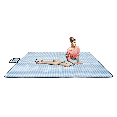 """chuanyuekeji Extra Large Picnic & Outdoor Blanket with Waterproof Backing 80"""" x 90"""" -Blue and White"""