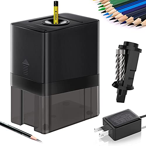 Actrinic - Afilador eléctrico de lápices resistente, sacapuntas automático con parada automática, afilado rápido, más fuerte, diseño de seguridad para el hogar, la oficina, artistas, estudiantes.