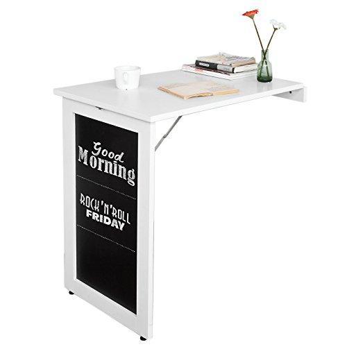 SoBuy FWT20-W,Mesa Plegable de Pared, Escritorio para Fijar en la Pared,con Pizarra Frontal,Blanco,Es