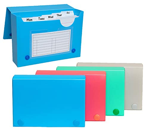 Index Card Case, 4x6 Inch Index Card Holder, Fits Up to 200 Cards Per Case - with 5 Dividers and Adhesive Label Tabs - Store Recipe Cards, School Index Cards & More - 4-Pack (Assorted Colors)