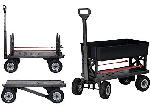 Mighty Max Cart - Adjustable Length Utility Wagon - Includes Tub & Interchangeable Accessories - Compact Easy Storage Pull Cart - All Terrain Wheels (Multi-Purpose Black on Black)