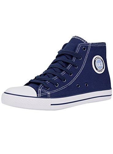 oodji Ultra Mujer Zapatillas Altas de Algodón, Azul, 37 EU / 4 UK