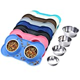Vivaglory Dog Bowls, Set of 2, Stainless Steel Water and Food Bowl Pet Cat Feeder with Non Spill Skid Resistant Silicone Mat, Small, Blue