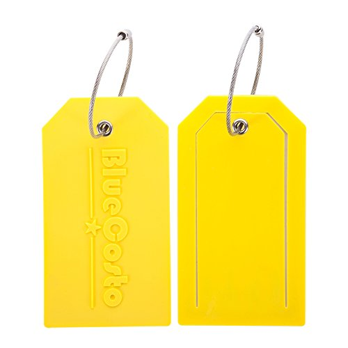 BlueCosto 2X Luggage Tags Suitcase Tag Travel Bag Large Labels w/Privacy Cover - Yellow