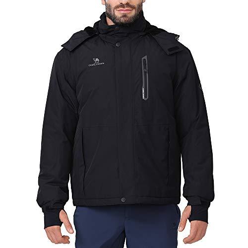 CAMEL CROWN Ski Jacket Men Waterproof Warm Cotton Winter Snow Coat Mountain Snowboard Windbreaker Detachooded Raincoat Black L