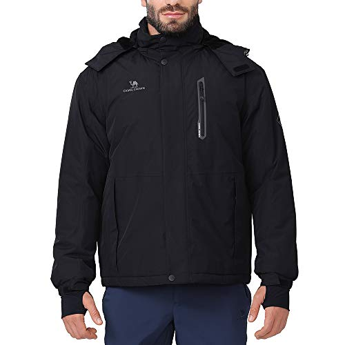 CAMEL CROWN Mens Waterproof Winter Coat Snow Ski Jacket Warm Fleece Mountain Windproof Detachable Hood Jackets Raincoat Black M