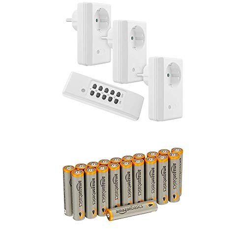 mumbi 4-Kanal 1100 Watt Funksteckdosen Set FS300: 3x Funksteckdose und 1x Fernbedienung - Plug & Play Funkschalt Set mit Amazon Basics Batterien