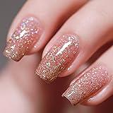 FANZEST Gel Nail Polish Led UV Gel Polish Holographic Color Sparkle Glitter Diamond Rose Gold 15ml