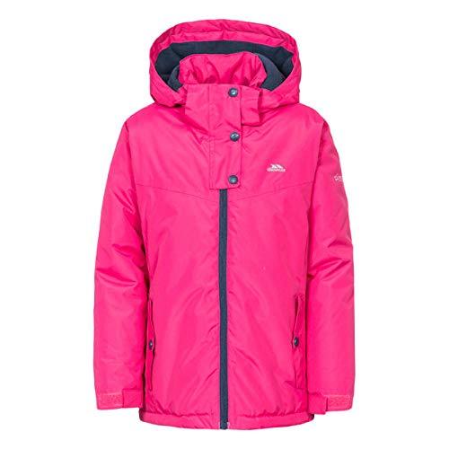 Trespass Maybole Girls Waterproof Jacket Windproof Hooded Rain Coat for School Raspberry