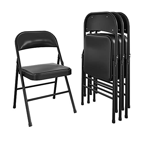 COSCO Essentials Vinyl Padded Seat & Back Folding Chair, Double Braced, 4 Pack, Black