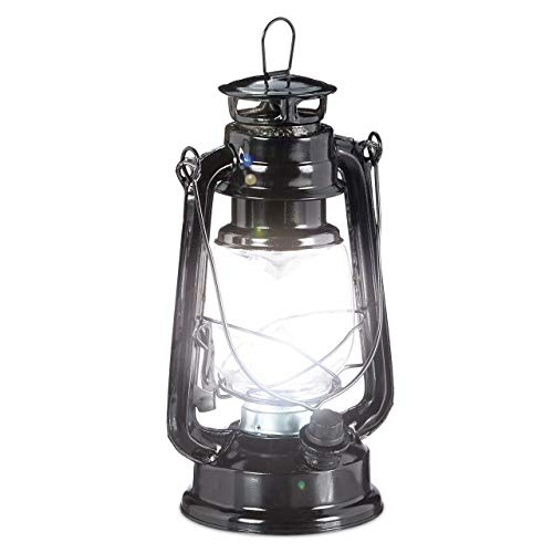 Relaxdays, schwarz Sturmlaterne LED, Retro Sturmlampe als Fensterdeko oder elektrische Gartenlaterne, batteriebetrieben