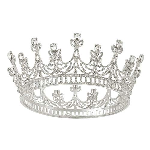 SWEETV Silver Queen Crown for Women, Wedding Crown Princess Tiara, Brithday Crown Cake Topper, Costume Party Halloween Accessories