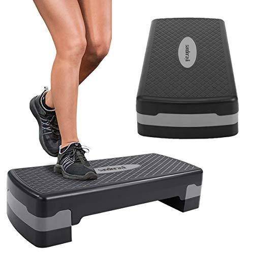 Sandinrayli 27'' Aerobic Exercise Stepper Platform Height Adjustable Fitness Workout (Black)