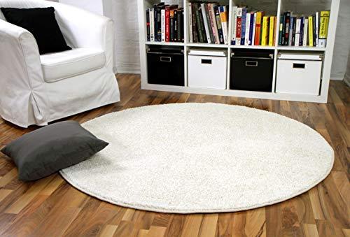 Snapstyle Hochflor Velours Teppich Mona Creme Rund in 7 Größen
