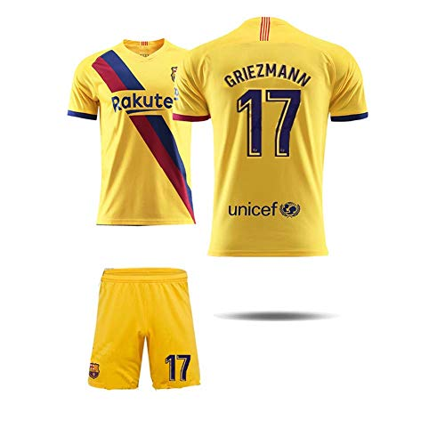 COOLBOY Griezmann 17#Boys-Girls-Youth Sport Shirts and Shorts Set, Boys' Soccer Jerseys Sports Team Training Uniform,L