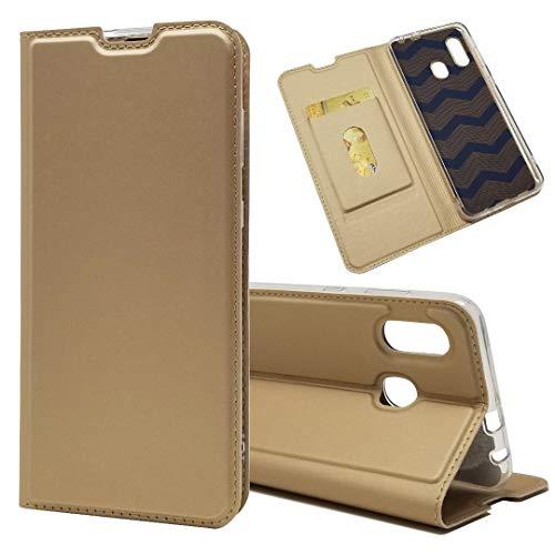 Samsung Galaxy A30 SCV43 ケース手帳型 Galaxy A30 日本版ケース Pelantyファッションカバー極薄磁気高級puレザー財布付きカードスロットフリップスタンドケースカバー携帯電話アクセサリー耐衝撃[4色選択]ゴールド