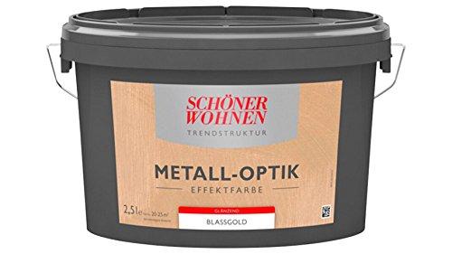 SCHÖNER WOHNEN FARBE Effektfarbe Metall-optik glänzend 2,5L gold 2 l, gold