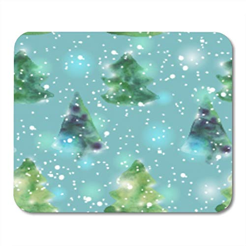 Mauspads Beauty Blue Abstract mit Aquarell-Weihnachtsbäumen Weiß Beautiful Celebration Mouse Pad für Notebooks, Desktop-Computer Mausmatten, Büromaterial
