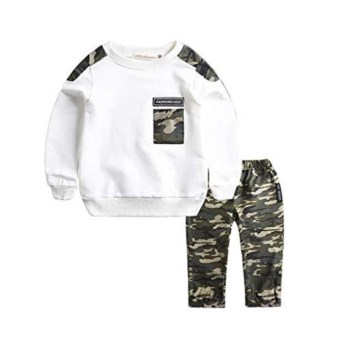 Babybekleidung Jungen, Outfits Set Kinder Kleinkind Baby Camouflage Bekleidungssets Rundhals Pullover Langarmshirts Tops + Hosen Zweiteilig (Weiß, 110)