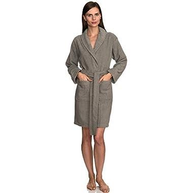 TowelSelections Women's Robe, Turkish Cotton Short Terry Bathrobe Medium Sharkskin