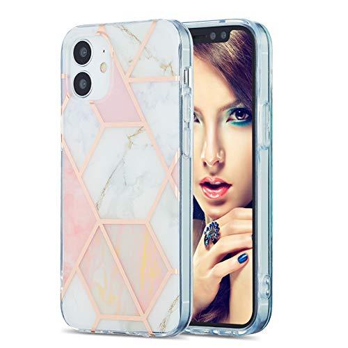 Ffish Funda compatible con iPhone 12 Mini + protector de pantalla, diseño de mármol con purpurina de silicona suave TPU Bumper Cover Case Skin Case (rosa/blanco)