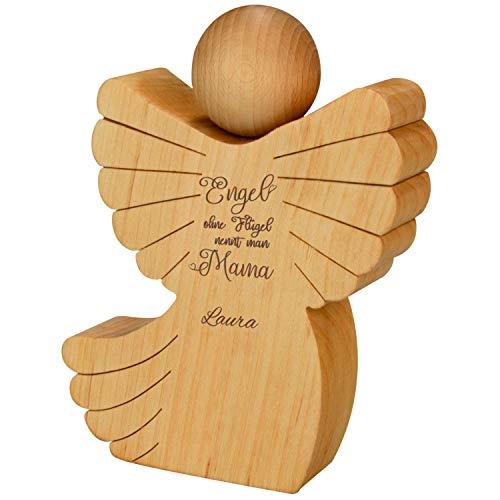 Holz Engel mit Gravur (mit Name) - Holzfigur für Mütter mit Spruch - personalisierte Geschenkidee zum Muttertag, Geburtstag und Weihnachten - Geldgeschenk: kreativ Geld verpacken