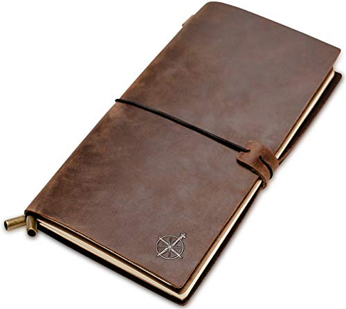 Lined Leather Travel Journal - Travelers Notebook, Refillable - Perfect for Writing, Poetry, to Do Lists, Travelers, a Diary. Standard Size Lined Inserts - 8.5'x4.5'
