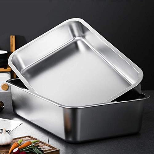 Bandeja de horno de acero inoxidable 304 bandejas de horno de 40 x 30 x 4,8 cm, no tóxicas y resistentes y fáciles de limpiar