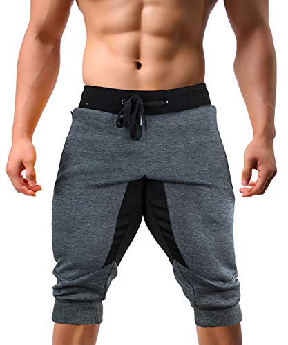 EKLENTSON Capri Joggers Men Multi-Pockets Long Shorts Men Below Knee Shorts 3/4 Pants for Men Gray