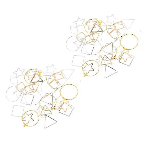 Sharplace 72x Varios Pendientes de Oreja Geométricos de Oro Plateado Hallazgos Accesorios de Joyería