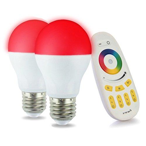 LIGHTEU, 2 x WiFi Ampoule LED, 6W, E27, Multicolore RGB blanc chaud à intensité variable avec télécommande 4 zones [Classe énergétique A+]