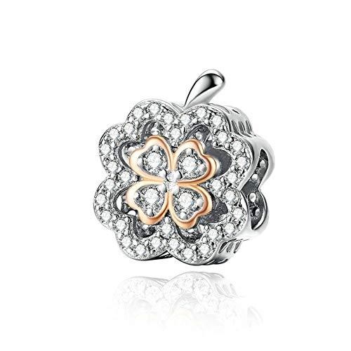 GaLon Encantos S925 Plata de Ley trébol Perlas de circón de Bricolaje Artesanal de Joyas Compatible con Pandora y Pulseras de los Collares Europeos